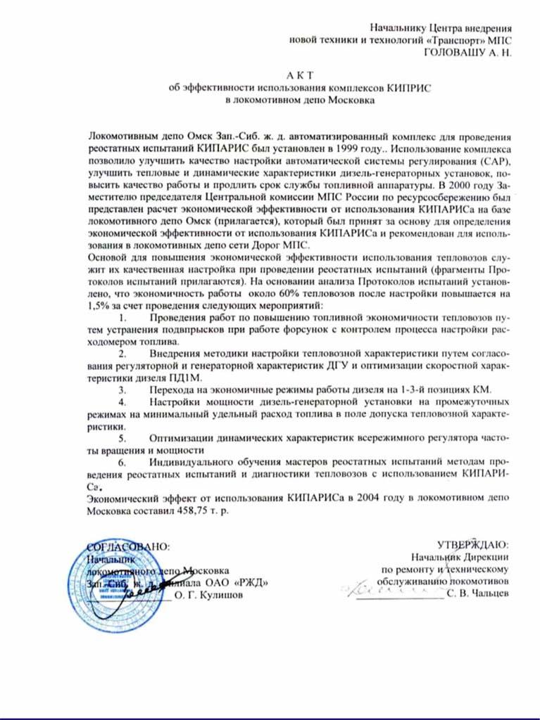 7 Отзывы о продукции НИИТКД по Кипарису-2 ЛРД Московка
