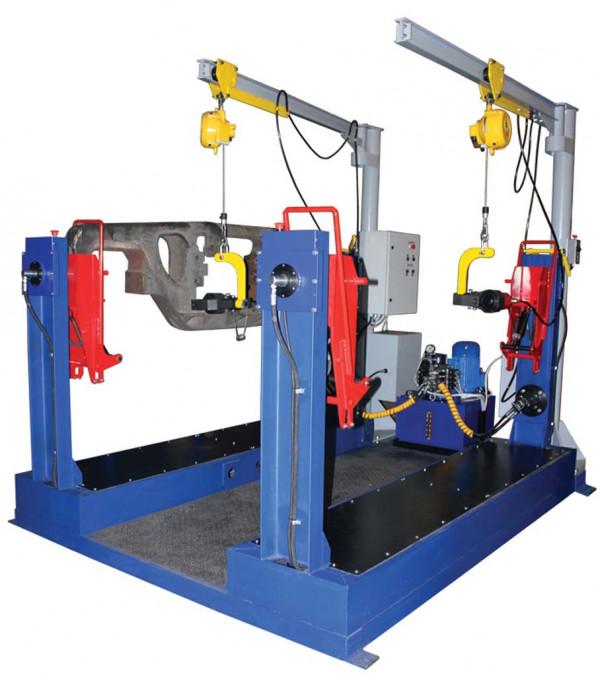 Mechanisierte Position zum Kippen und Nieten von Seitenrahmen von Güterwagen-Drehgestellen