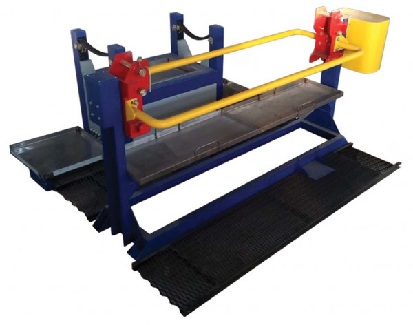 Test stand for flaw detection of cast parts of carriage bogies